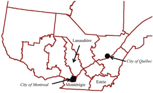 Regions of Quebec included in the present study