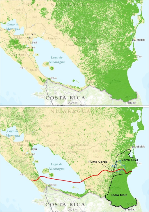 Route Of The Nicaragua CanalThe Proposed Route Of A Ne Openi - Us forest cover map