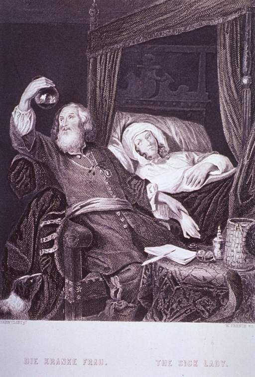 <p>Bedroom scene: a physician is examining the contents of a urine flask and taking the pulse of a woman lying in bed.</p>