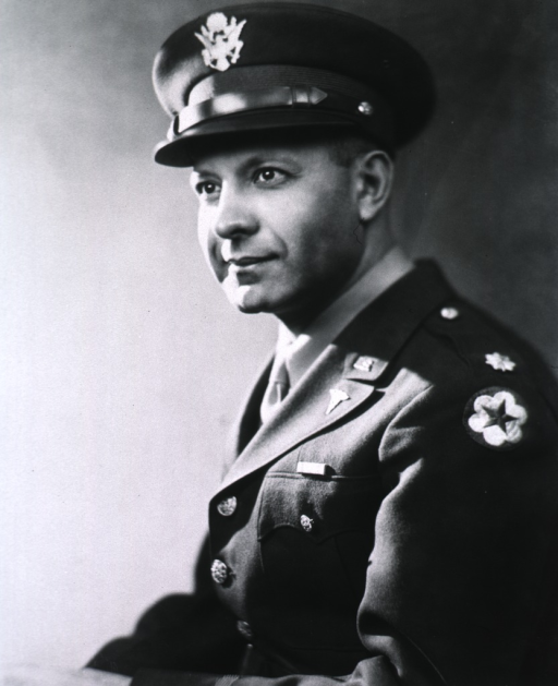 <p>Head and shoulders, left pose; wearing uniform and cap (Major).</p>