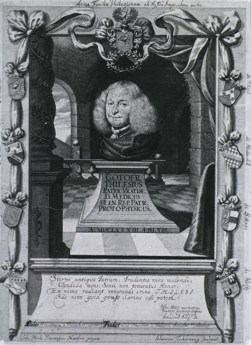 <p>Head (sculpture) on pedestal; with columed frame - work; coat-of-arms and crests.</p>