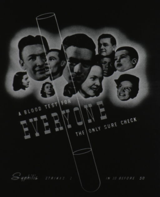 <p>A test tube superimposed over a group of human heads, male and female, black and white, infant thru adult.</p>