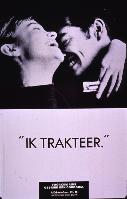 <p>Black and white poster.  Visual image is a b&amp;w photo reproduction of a couple embracing.  They smile and appear to laugh.  One holds a condom.  Title below photo.  Caption at bottom of poster, along with a hotline number.  Caption urges using a condom to prevent AIDS.  Publisher and sponsor information on lower left edge of poster.</p>