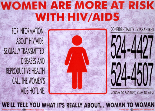 <p>Purple poster with red and black lettering.  Title at top of poster.  Caption on left side of poster.  Visual image is an illustration of the international symbol used on women's restrooms.  Hotline numbers on right side of poster.  Note, sponsor, and publisher information at bottom of poster.</p>