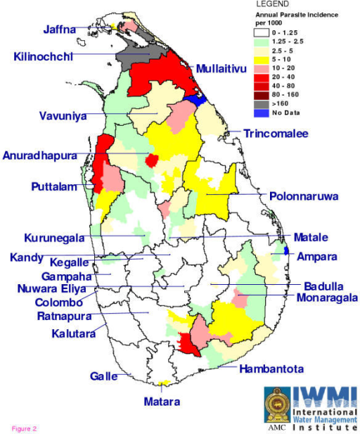 Annual parasite incidence of Plasmodium falciparum Map of the districts of Sri Lanka with annual parasite incidence (API) of P. falciparum malaria and mixed infections of both P. vivax and P. falciparum at Medical Officer of Health (MOH) area resolution over the year 1998.