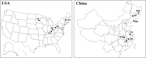 Map of Ambrosia artemisiifolia populations used in this study from China and North America.Population MD, SP, DD, NJ, NC, and LC were used for outcrossing rates estimation with microsatellite; MD, SP, DD, WH, NJ, NC, 1F, 4F, M, and An were for genetic diversity estimation with AFLP.