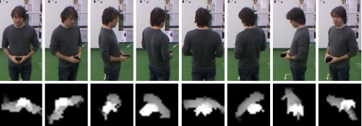The top row shows eight headings for one person at the same position in reference to the camera. The bottom row contains examples of related height templates used in orientation classification with neural network.