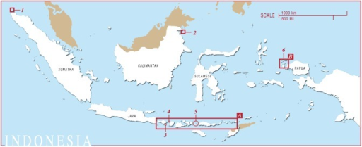 The locations of M. alfredi encounters in Indonesia submitted to Manta Matcher.Sites are numbered as follows: 1) Pulau Weh 2) Palau Sangalaki 3) Nusa Penida 4) Gili Islands 5) West Manggarai & Komodo National Park 6) Raja Ampat. (A) Connectivity area and commercial fisheries area (see Figure 2 for enlargement). (B) Region surveyed in Raja Ampat (see Figure 3 for enlargement).