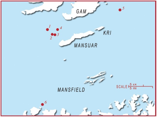 A map of the Raja Ampat region to indicate the location of different monitoring sites.Sites are numbered as follows: 1) Manta Sandy 2) Jetty Arborek 3) Blue Magic 4) Manta Ridge 5) Manta Heaven 6) Dayang.
