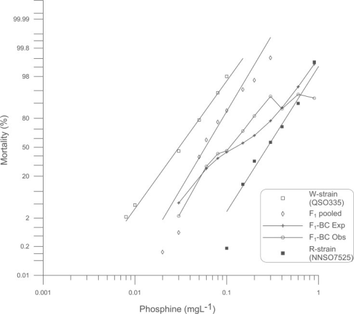 Probit analysis of mortality due to phosphine exposure: W-strain x R-strain backcross.Percent mortality was determined after a 48 h exposure to phosphine at 25°C followed by a week recovery period. Results for weakly resistant (W-strain) and strongly resistant (R-strain) insects are provided for reference. Experimental data for pooled F1 progeny as well as the progeny of the backcross of the F1 to the R-strain parent are shown. A theoretical mortality response curve for the F1-BC is drawn based on the hypothesis that only a single gene contributes to the observed resistance.
