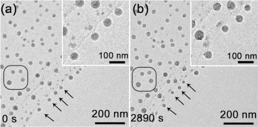 The size change of the Ga particles exploded from the original Ga ball (Fig. 2(a)) covered by silica.The four Ga particles marked by black arrows before irradiation (a) decreased their sizes after electron irradiation for 2890 s (b). The insets show the enlarged images of the region marked by arrows.