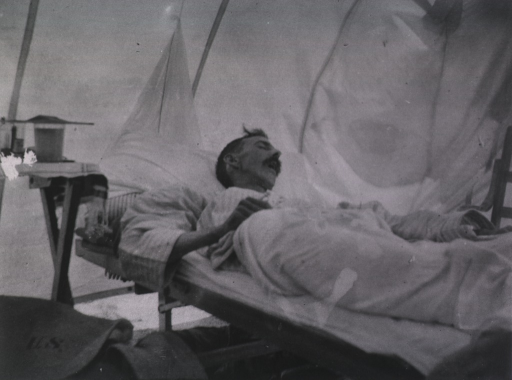 <p>A yellow fever patient sleeps in his hospital bed.</p>