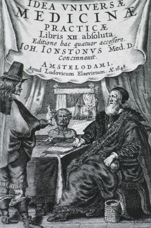 <p>Title page showing two figures, one standing, full length, right profile; and the other, full length, seated, left pose.</p>