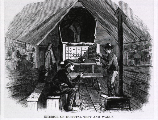 <p>Interior of hospital tent and wagon [near Petersburg, Va.].</p>