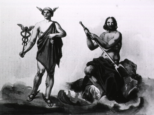 <p>Mercury withi his double snake-winged caduceus stands to the left of Neptune with his fork.</p>