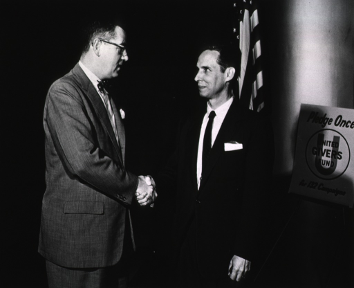 <p>Dr. James Shannon and Surgeon General Leroy Burney meet for the UGF Campaign, October 8, 1956.</p>