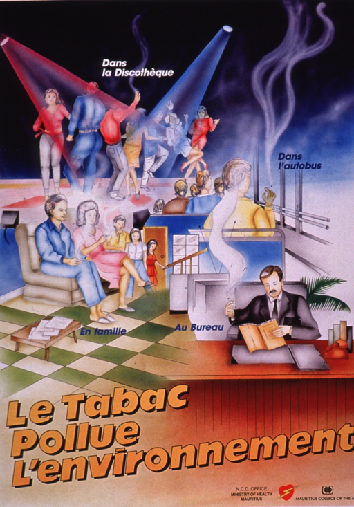 <p>Multicolor poster.  Visual image is an illustration featuring scenes of people smoking in many settings: on a dance floor, in a bus, in a living room, and in an office.  Note text dispersed throughout illustration.  Title and publisher information at bottom of poster.</p>