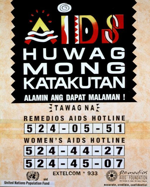 <p>Orange and black poster with multicolor lettering.  Title at top of poster.  Title appears to urge the reader not to fear or dread AIDS, but to become informed instead.  Hotline numbers below title.  It appears that one hotline number has been taped on to poster.  Sponsor and publisher information in English at bottom of poster.</p>