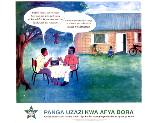 <p>Predominantly white poster with black lettering.  Visual image appears to be a reproduction of a watercolor painting depicting two men having coffee and talking.  Two children sit in front of a brick house in the background.  One man asks the other how he has acquired such a modern house; the homeowner credits using modern family planning methods.  Title and publisher information at bottom of poster.  Title may mean &quot;family planning for better health.&quot;</p>