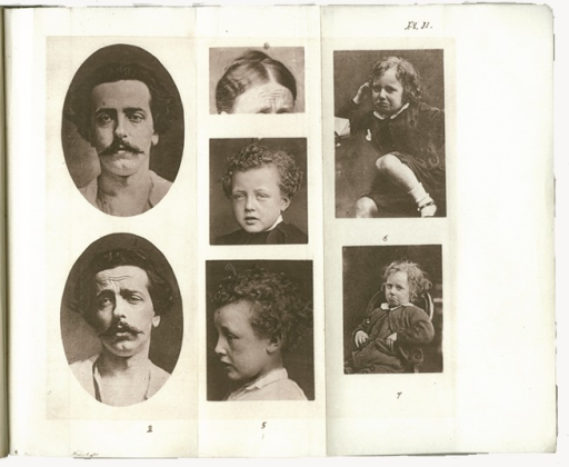 <p>Image of p. 180 from Darwin's Expression of emotions in man and animals. Includes portraits depicting various human emotions shown by facial expressions.</p>