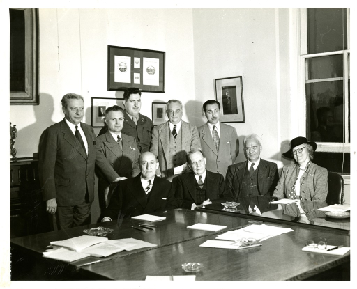 <p>Group portrait of Dr. Lewis H. Weed, Chairman, Dr. John F. Fulton, Dr. Sanford V. Larkey, Dr. Chauncey D. Leake, Dr. William S. Middleton, Dr. Ebbe C. Hoff, Dr. Eugene W. Scott, Dr. Mortimer Taube, Mr. Ralph R. Shaw, Miss Janet Doe, Dr. Morris Fishbein - ex officio, Colonel J.H. McNinch, MC  - ex officio.</p>