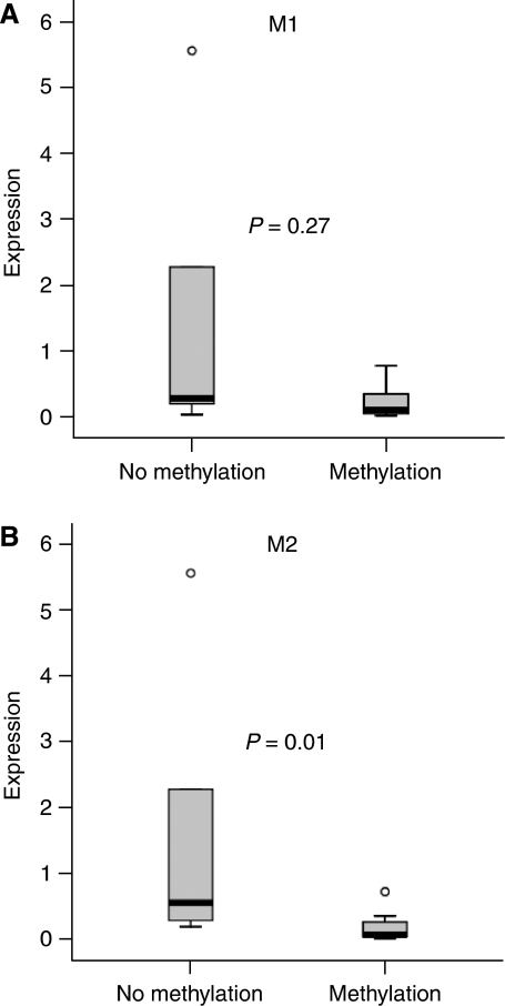 Box plots of the relative expression values of 17 gastric carcinoma tissue samples methylated and unmethylated for the M1 (A) and M2 (B) promoter regions. Gastric carcinomas methylated for the M2 MAL promoter region show significantly lower expression of the MAL gene compared with unmethylated gastric carcinomas (P=0.01).