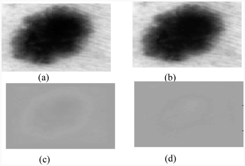 Results of the Karhunen–Loeve transform: (a) original image, (b) 1st principal component represents 98.87% of the total variance, (c) 2nd component represents 1.08%; (d) 3rd component represents 0.0036.