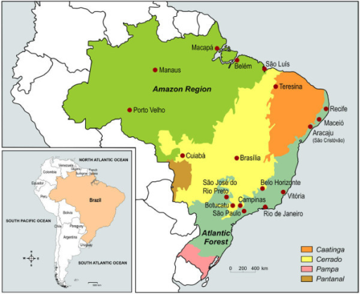 The Brazilian Biome Map And Location Of Research Centre Openi - Biomes map of the us