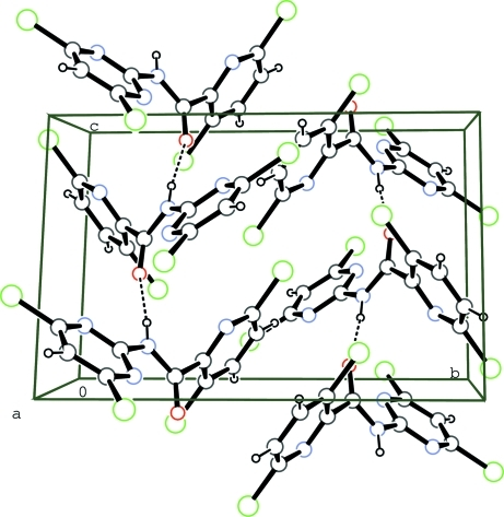 Crystal packing of the title compound, showing the hydrogen bonds as dashed lines.