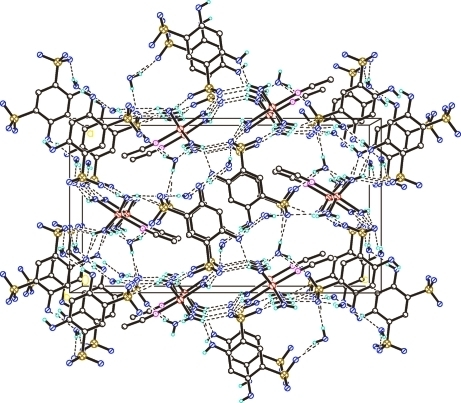 The crystal packing of the title compound viewed along the b axis. H atoms not involved in hydrogen bonding (dashed lines) have been omitted for clarity.