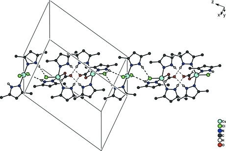 A portion of the crystal packing showing hydrogen bonds as dashed lines.