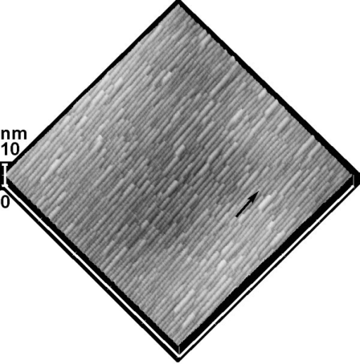 AFM image (1 × 1 μm2) of the surface morphology after 10th layer of Ge growth on a vicinal Si (001) substrate with ~8° off toward ⟨110⟩. The black arrow denotes the miscut direction.