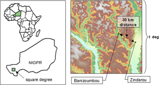 "(From Bomblies et al., [30]). Shows the location of the studied villages Banizoumbou ,Zindarou and Niger. The right panel depicts topography within the HAPEX-Sahel square degree, the subject of an intensive international hydrology and climatology research project that took place from 1991 until 1993. The Niger River is seen in the bottom left of the domain, and the ""Dallol Bosso"" relict river basin is seen on the right. Zindarou's location within the Dallol Bosso results in the village's unique hydrology, whereas Banizoumbou has a more arid hydrology that is typical of the Sahel."