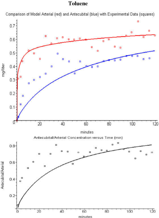Comparison of toluene PBPK model arterial (red line) and antecubital vein (blue line) concentrations with the experimental data (squares) of Carlsson et. al. [17] (top panel). The bottom panel compares the model antecubital vein/arterial concentration ratio (black line) versus the experimental values (squares). Using a fractional contribution of muscle to antecubital vein blood of 0.5.