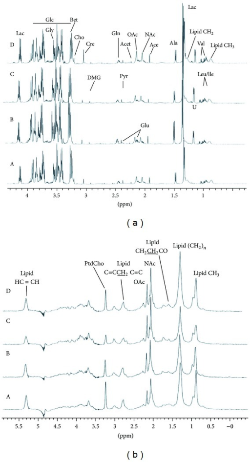 1H NMR spectra of rat plasma samples. (a) CPMG spectra; (b) LED spectra; A, control; B, NTG group; C, NA group; D, EA group (n = 10).