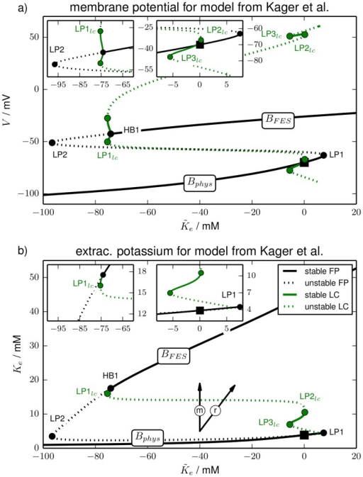 Bifurcation diagram.Bifurcation diagram of the model from Kager et al. (cf. last paragraph of Sect. Models). Like in Fig. 2 panel (a) shows the membrane potential and panel (b) shows the extracellular potassium concentration of the invariant sets, i.e., fixed points and limit cycles. The line style convention (solid for stable, dashed for unstable) and bifurcation labels are the same as in Fig. 2. Note the similar shape to Fig. 2, but also the different scale of the two figures.