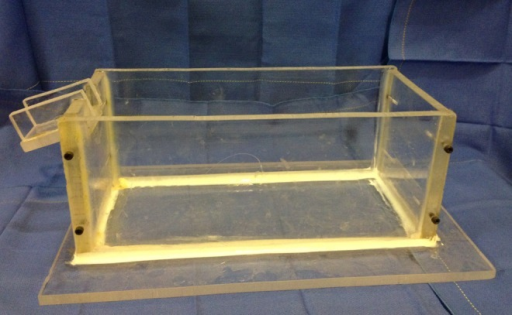 A Plexiglas box was constructed to conduct volumetric measurement of the foot by water displacement.