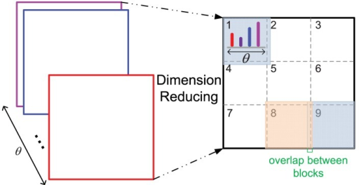 The dimension reducing method. As 12 orientations θ are used, the original feature dimension of a patch with size n is 12 × n×n, n = 16, 28 in this paper. After dimension reducing processing, the feature dimension is 12 × 9 for all the patches with different size n.
