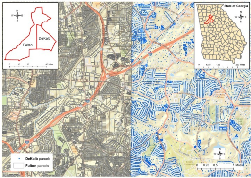 Sample parcel polygon data for Fulton County vs. parcel centroid data for DeKalb County.