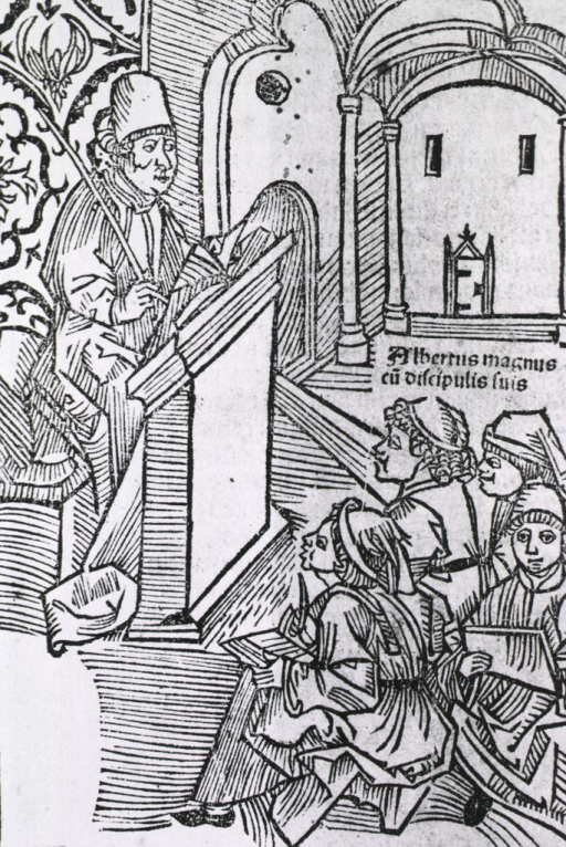 <p>Albertus sits at a lectern, he holds a rod in one hand while instructing four pupils who are seated on low stools before him.</p>
