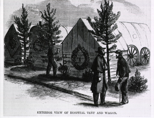 <p>Exterior view of hospital tent and wagon [near Petersburg, Va.] [amputee stands in foreground].</p>