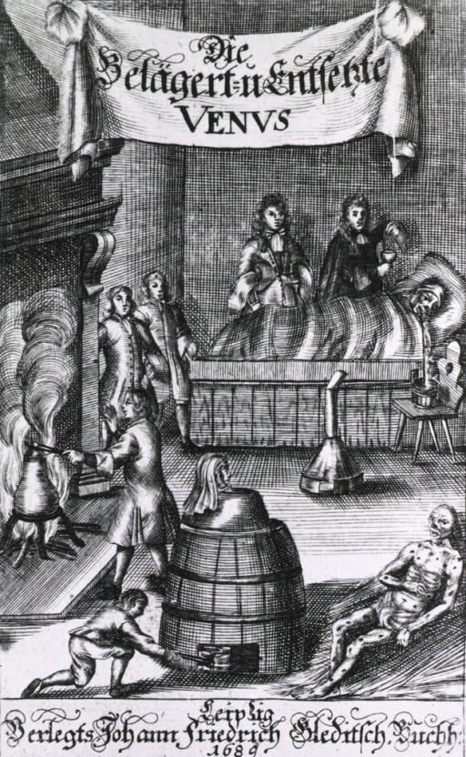 <p>Interior scene showing people involved in various methods of syphilis treatment including mercury fumigation.  Victim in last stage in foreground.</p>