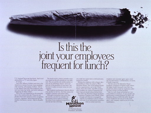 <p>White poster with black lettering.  Top of poster features a reproduction of a b&amp;w photo of a marijuana cigarette.  Title is centered below photo.  Caption, logo and address for publisher at bottom of poster.</p>