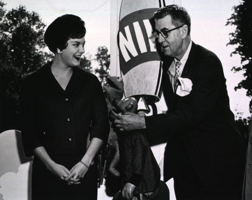 <p>Dr. James Shannon and Ruth Rea (Miss Washington) discuss the 1960 UGF campaign with the help of the WRC-TV muppets.</p>