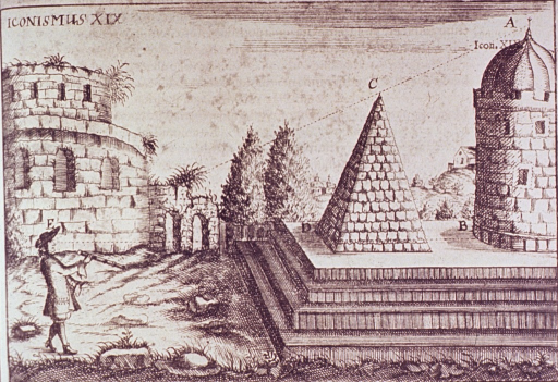 <p>A man holding a telescope is looking at two structures on an elevated platform; dotted lines indicate his line of perception.</p>