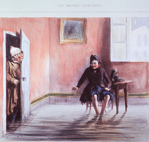 <p>A man sitting in a chair, has flooded his room so that he may soak his feet.  Another man wearing night-clothes, perhaps the landlord, has opened the door to the room and partially entered, he has a startled and angry look on his face.</p>
