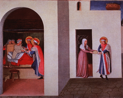<p>Interior scene, showing Saints Cosmas and Damian healing Palladia.</p>