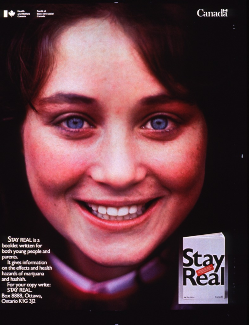 <p>Entire poster is a reproduction of two color photos.  The largest is a photo of a smiling young woman's face.  Superimposed on that, in the lower right corner, is a small photo of the booklet.  Publisher information is in the upper left corner.  Contact information to get a copy of book in lower left corner.</p>
