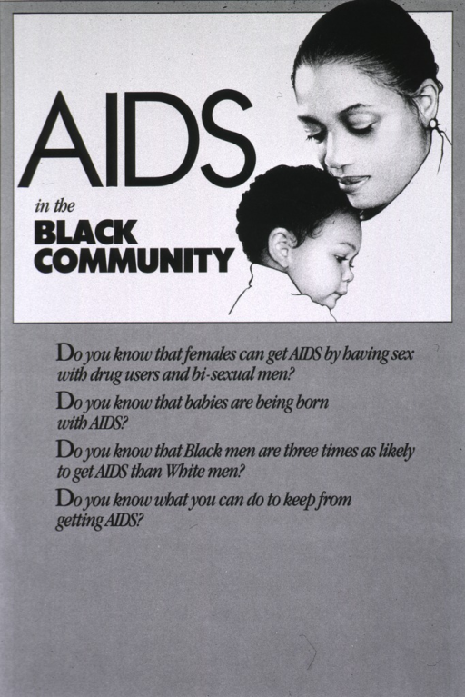 <p>White and gray poster with black lettering, illustrated with a black and white photograph of a young child resting his or her head on the shoulder of a woman.</p>