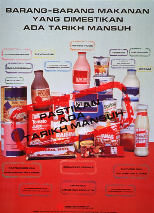 <p>Multicolor poster with black lettering.  Title at top of poster.  Visual image is a color photo reproduction featuring many perishable foods, including milk and dairy products, juices, cereals, and some sweets.  Caption is superimposed on photo within a red border, as if to suggest a stamp.  Publisher and printer information at bottom of poster.</p>